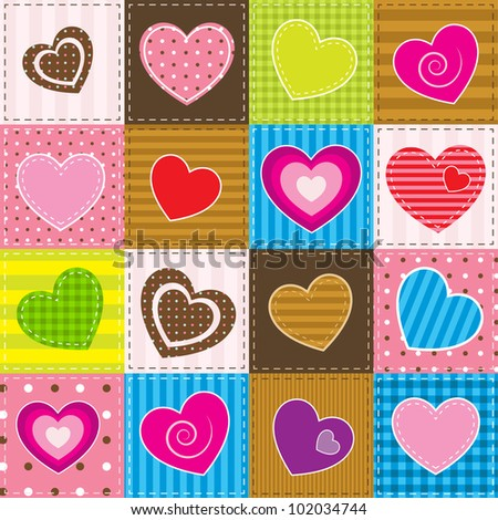 vector colorful patchwork with hearts