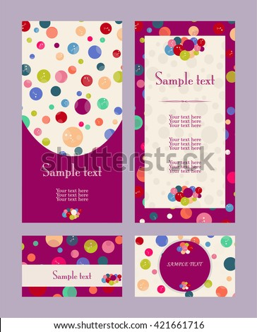 Vector colorful  pattern invitation greeting and thank you cards set