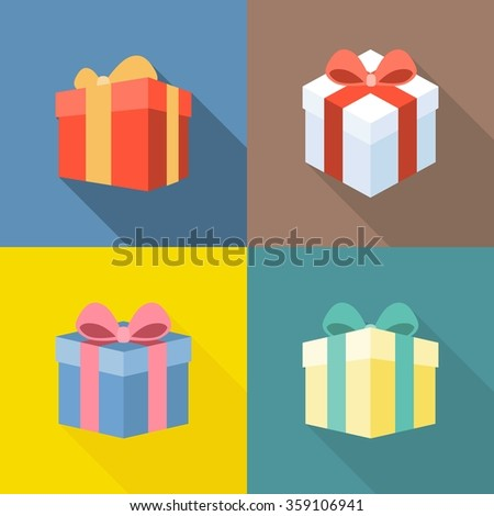 Vector colorful present box icons set, flat design with long shadow