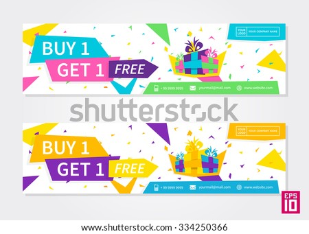 Vector colorful promotion banner Buy 1 Get 1 Free. Business Flyer Buy 1 Get 1 Free.