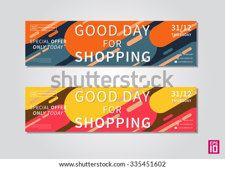 Vector colorful promotion banner Good Day For Shopping. Business offer flyer template.