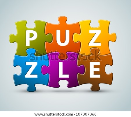 Vector colorful puzzle lettering - made from puzzle pieces