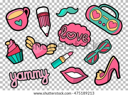 vector colorful quirky patches...