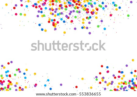 Vector colorful round confetti frame isolated on white background
