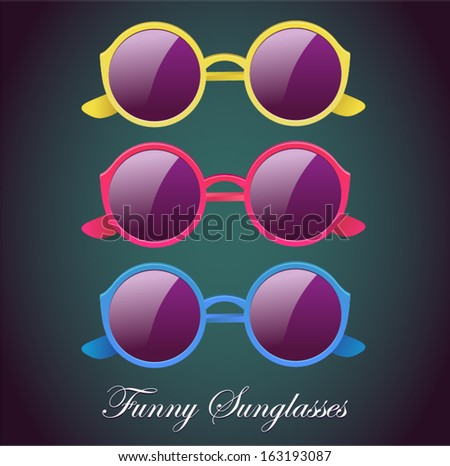 vector colorful round glasses