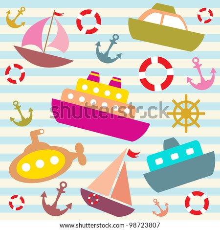vector colorful sea transport background