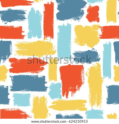 Vector colorful seamless pattern with brush strokes. Summer fantasy . Rainbow color on white background. Hand painted grange texture. Ink geometric elements. Fashion modern style. Unusual .