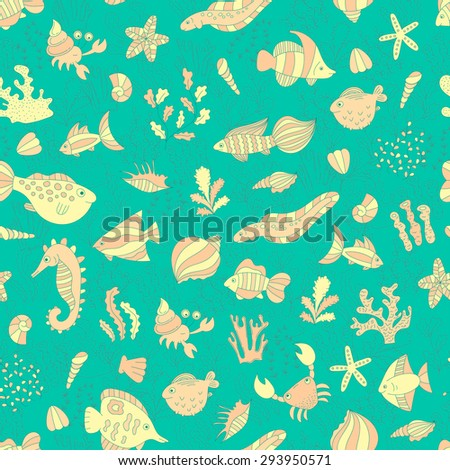 vector colorful seamless pattern with doodle underwater animals and plants. hand drawn illustration for background, fabric, print.