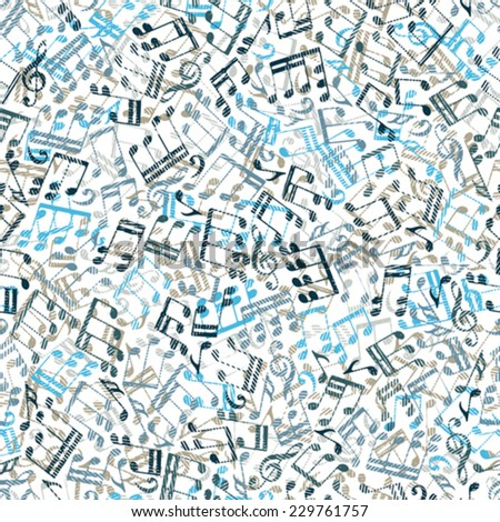Vector colorful seamless pattern with striped musical notes and treble clefs on white background.