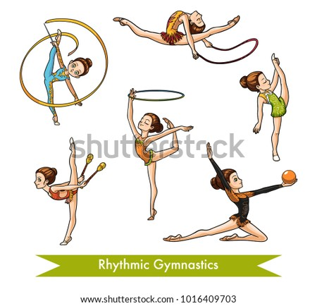 Vector colorful set of rhythmic gymnastics.  Cartoon girl with the ball, with clubs, ribbon, skipping rope and hoop