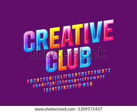 Vector colorful Sign Creative Club with Glossy Font. Bright Alphabet Letters, Numbers and Symbols.