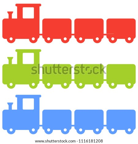 Vector colorful silhouette of a toy trains