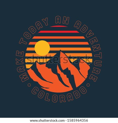 Vector Colorful Sky and Snowy Mountain with Positive Slogan Artwork For Apparel