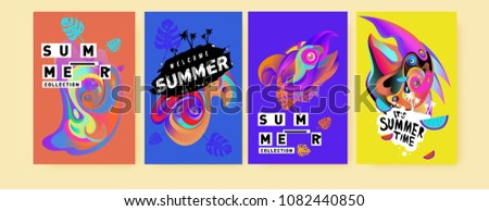Vector colorful summer tropical collection poster and background. Bird and animal illustration for fashion and fabric printed. Set of summer collection in eps10.