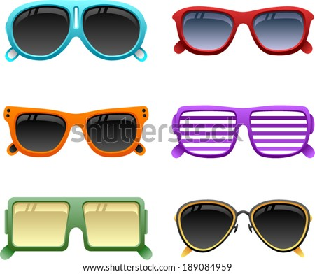 vector colorful sunglasses set