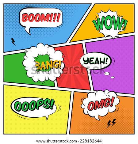 Vector colorful template of comic book page with various speech bubbles, rays, stars, dots, halftone background