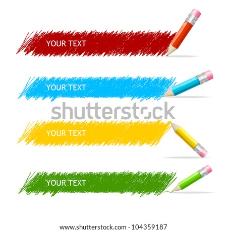 Vector colorful text box and pencils