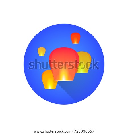 vector colorful traditional Chinese floating sky lanterns Kongming illustration flat shadow design round blue background