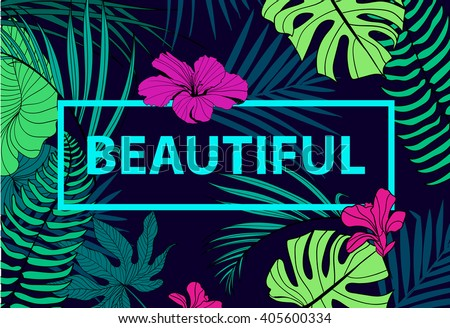 vector colorful tropical quote