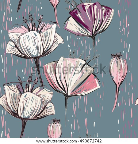 vector colorful tulips on the