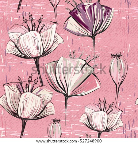 Vector colorful tulips. Seamless pattern can be used for wallpapers, pattern fills, web page backgrounds, surface textures