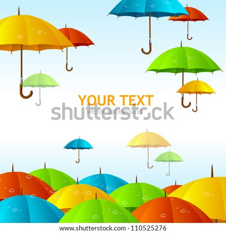 Vector colorful umbrellas flying high