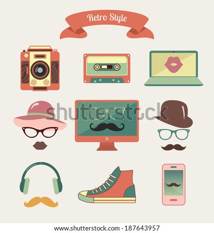 vector colorful vintage retro