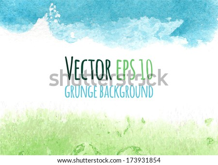 Vector colorful watercolor background. Abstract grunge background. Bright green and blue spring modern design template with place for your text. Frame from watercolor stains. Brush stroke element.