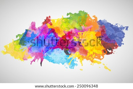 Vector Colorful Watercolor Splash for decoration of posters, typography, flyers and other. Rainbow colors - yellow, red, violet, indigo, blue, pink, red, green.
