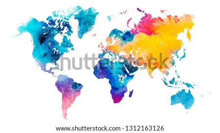 Vector colorful watercolor world map