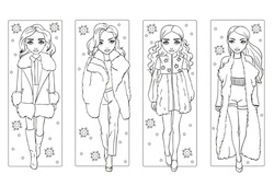 Vector coloring book of girls in warm winter fur clothes walking