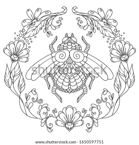 vector coloring book page for adult. stylized cartoon image, insect with floral pattern in zentangle art-style stock photo