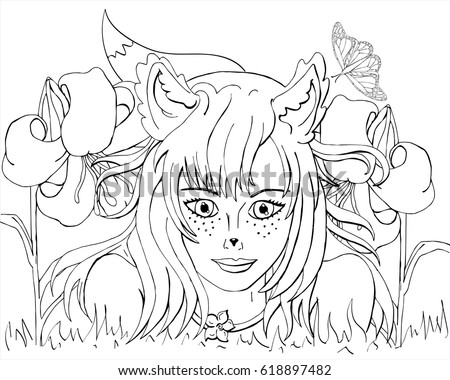 vector coloring girl with fox