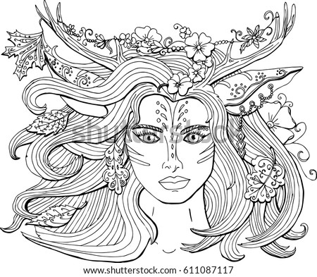 Vector Coloring Pages For Adults Ornament Beautiful Fantasy Girl Deer With Antlers The Spirit Of