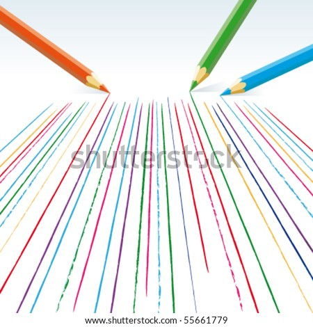 Vector  colour pencils drawing straight lines