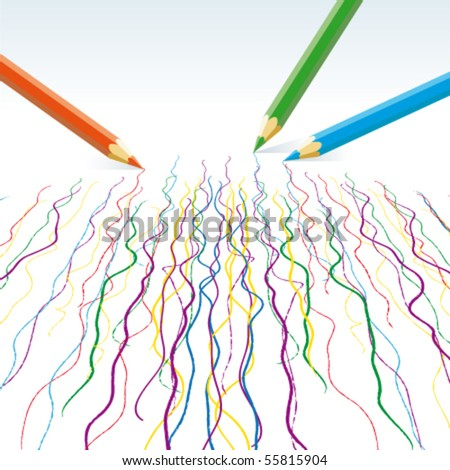 Vector  colour pencils drawing  wavy lines