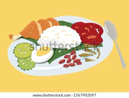 Vector colourful Malaysian food Nasi Lemak illustration.