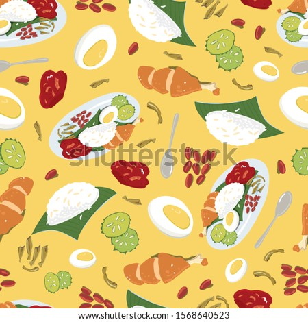 Vector colourful Malaysian food Nasi Lemak yellow repeat pattern. Perfect for fabric, scrapbooking and wallpaper projects.