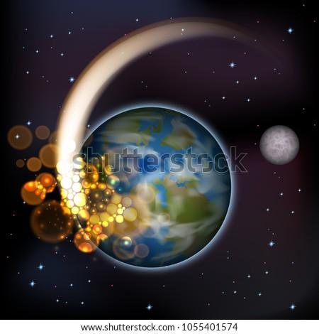 vector  comet meteor flying