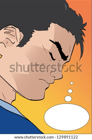 Vector comic book character thinking