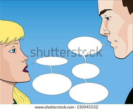 Vector comic book style couple talking with speech bubbles
