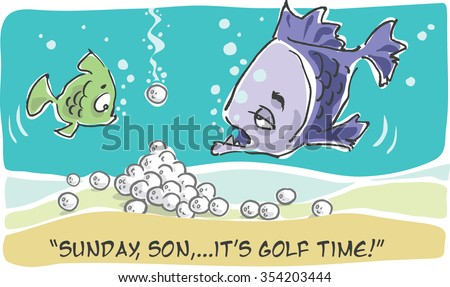 vector comic cartoon fishes in golf lake