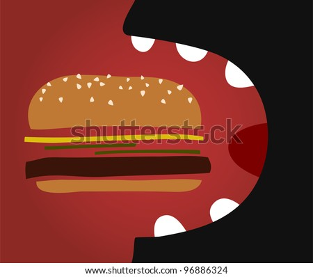 vector comic man eating a