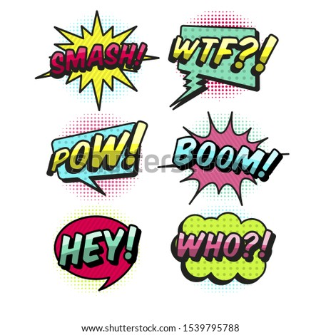 Vector comic speach bubble with prase Boom, Wow, WTF, Oh, Bang, Oops, Pow, OMG, Yeah.