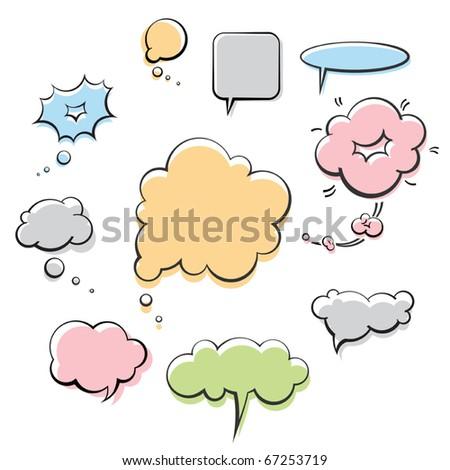 vector comic speech balloons ink collection