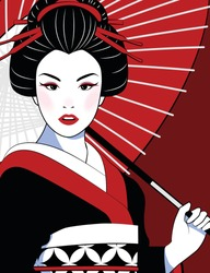 Vector comic style of portrait beautiful Japanese girl in kimono holding a red umbrella. Vintage, illustration.