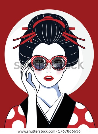 Vector comic style of portrait beautiful Japanese girl in kimono wear glasses that reflect the Tokyo culture symbols and landmarks. Vintage, illustration. Stock fotó ©
