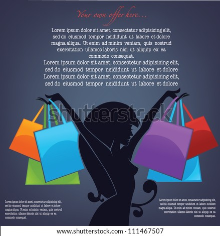 vector commercial background with girl silhouette and shopping bags