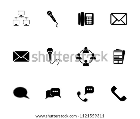 vector communication icons set - phone wireless network sign symbols, computer illustrations. web icons