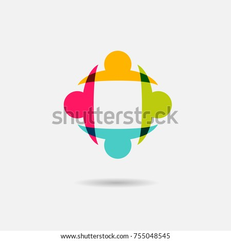 Vector community logo icon of people  - sign of unity, teamwork. Illustration of society, children playing, engagement & interaction, partnership & team, kids fun, employees & staff, support, charity